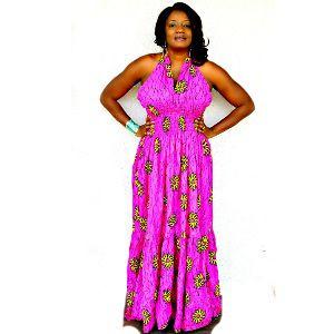 African Print Girlish Pink Maxi Dress