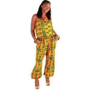 African Print Orange Jumpsuit