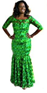 Green Lace African Print Evening Dress